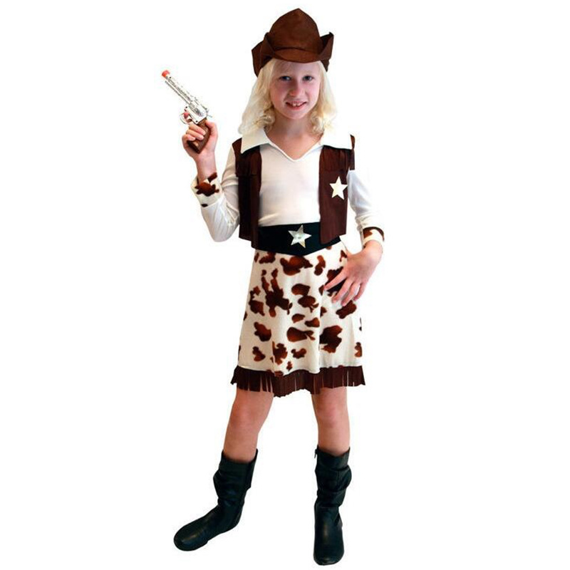 Newest Style Girls Sharpshooter West Cowboy Cosplay Costume Aggressiveness Slim Cowboy Clothes (One-piece + Belt +Cowboy Hat)