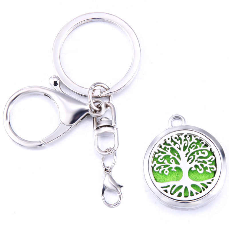 Feather Aroma Keychain Open Locket Stainless Steel Perfume Aromatherapy Essential Oil Diffuser Box Keychain Christmas Gift