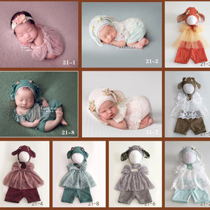 Image 2 - Ylsteed 3Pcs Set Newborn Photography Props Baby Rabbit Ear Hat Newborn Shooting Clothes Cute Baby Boy Girl Outfits Newborn Gifts