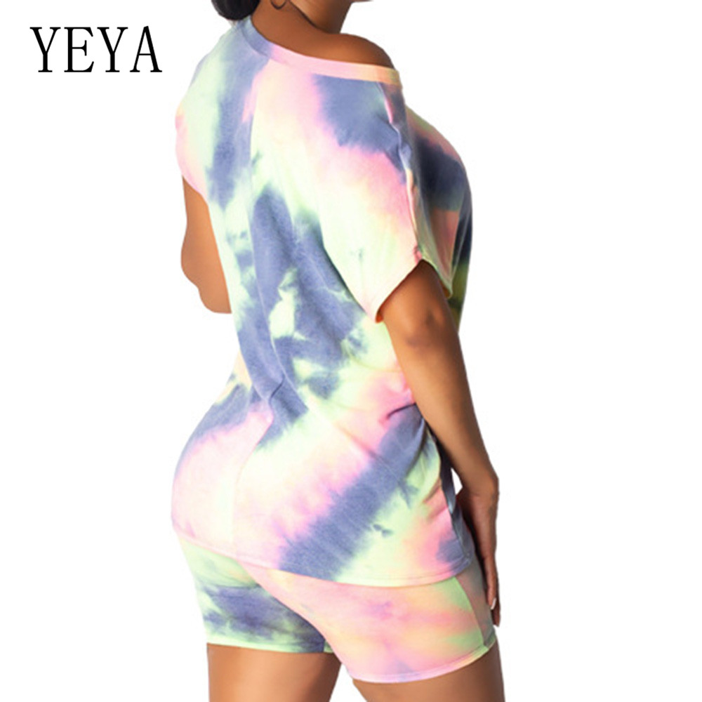 YEYA 2 Pieces Sets Multi color Tie dye Contrast Color Loose Playsuits Elegant O Neck Short Sleeve Women Summer Vintage Jumpsuits in Rompers from Women 39 s Clothing