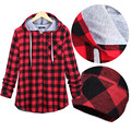 Red Plaid Shirt Hoodie Women 2017 New Fashion Sweatshirt Casual Loose Oversize Harajuku Tracksuit Female Zip-up Hoodies S-3XL