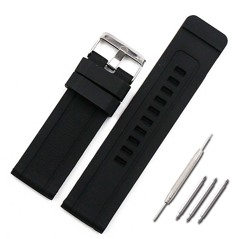 Watch Accessories 24mm Silicone Strap Men's Pin Buckle Sports Waterproof Rubber Strap Female Bracelet Men Watch Band
