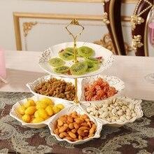 цена на Europe design ceramic dried fruit Candy Storage dish Dessert Snack Salad plate home tea table decor wedding decoration figurine
