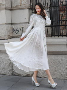 VOA Pleated-Dress Print-Runway Party White Elegant Women Plus-Size Mori-Girl Silk Lace-Up