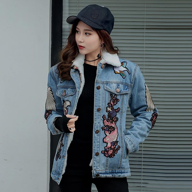 2018 new denim jackets women crane embroidery boyfriend