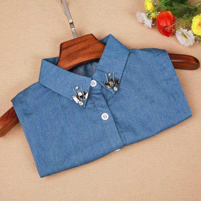 Женская мода декоративные круглый и достиг аксессуары съемный Ложные колье синие джинсы Съемная шарик цветок кристалл галстук