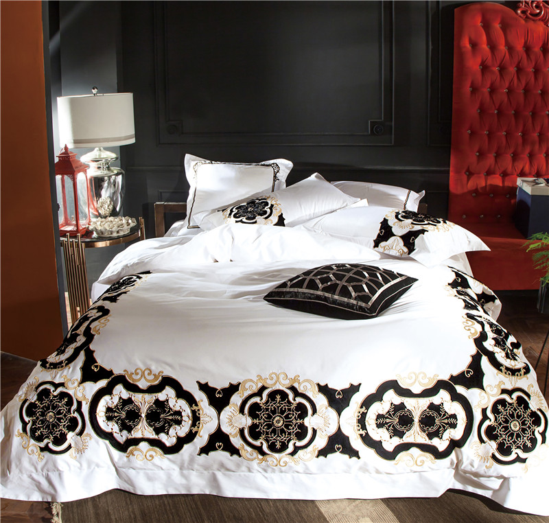 100S Egyptian Cotton White Embroidery Luxury Bedding Set 4/6Pcs King Queen Size Wedding