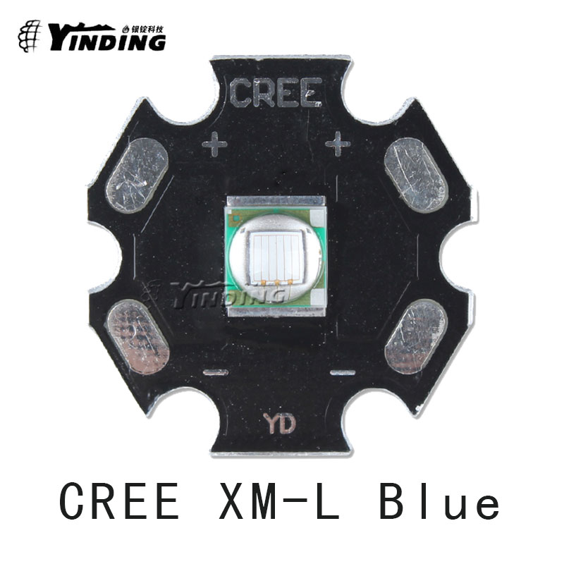 5pcs Cree Xlamp XM-L XML T6 U2 U3 Blue <font><b>460NM</b></font> 10W High Power <font><b>LED</b></font> Emitter Chip Lamp Light with 20MM Heatsink For Flashlight DIY image