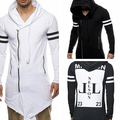 Men's Casual Letter Print Hoodie Varsity Stripe Long Sleeve Drawstring Outerwear smt 87