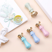 1Pc Wood Handle Wax Seal Stamp Accessories Portable Mini Diy Seal Tool Retro Macaron Color Just grip Post Gifts Decorative