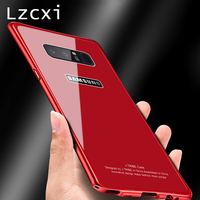 Lzcxi Aluminum Case For Samsung Galaxy Note 8 Luxury Metal Frame 9H Back Glass Cover For