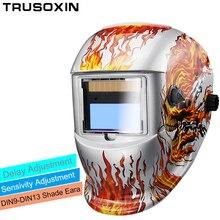 где купить Blue skull DIN9-DIN13 Solar Auto darkening welding helmets/Electric welder face mask/caps for TIG MIG MMA stick welder machine по лучшей цене