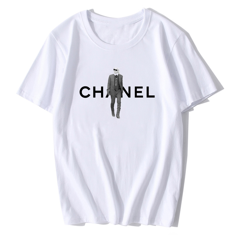 Plus Size Karl   T     Shirt   Women White Tee   Shirt   New Summer Casual Tops Luxury Perfume Brand Designer   T  -  Shirt   Unif Aesthetic