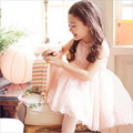2016 Summer New Lace Vest Girl Dress Baby Girl Princess Dress 3-7 Age Children Clothes Kids Party Costume Ball Gown