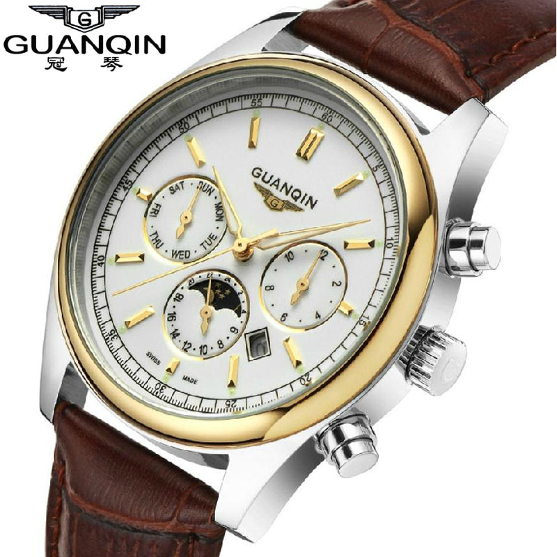 ФОТО GUANQIN Casual Quartz Watch Leather Strap mens watches Top Brand Luxury waterproof gold Men's Wristwatch relogio masculino clock