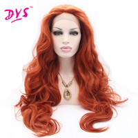 Deyngs Organge Brown Long Synthetic Lace Front Wigs With Natural Hairline Body Wave Lace Frontal Hair Wig For Black Women