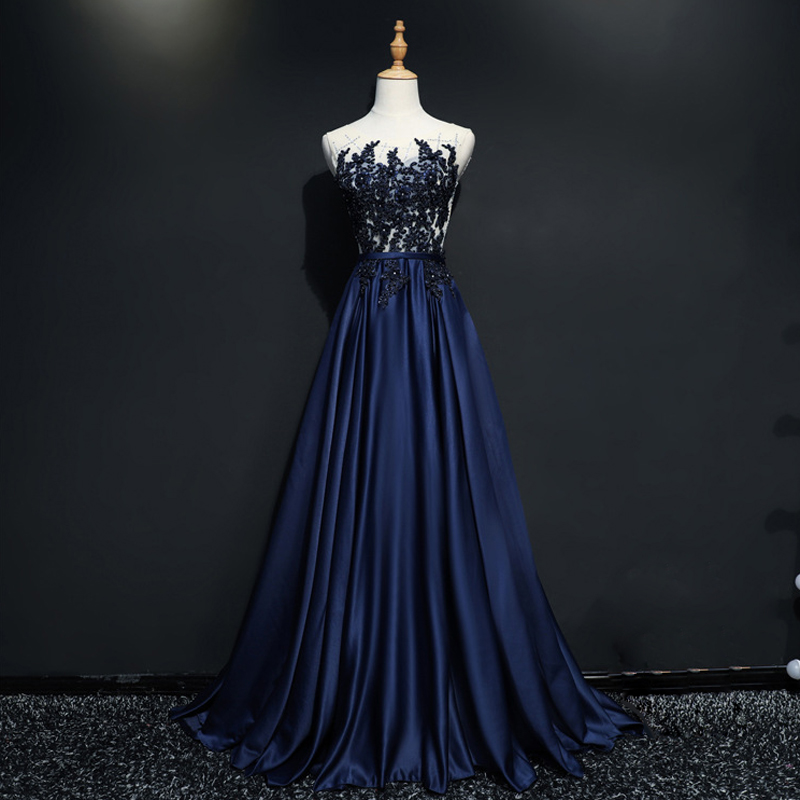 Robe De Soiree Fashion Lace Beading Sexy Backless Long   Evening     Dresses   Bride Banquet Elegant Navy Blue Party Prom   Dress