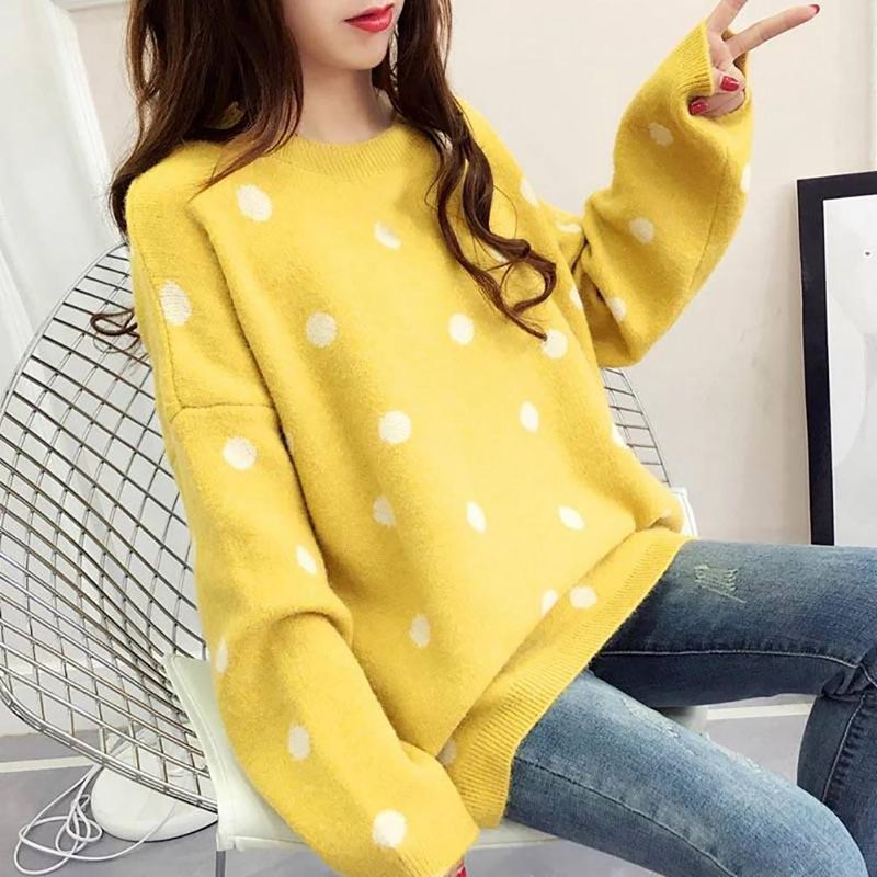 Women Autumn Sweater Loose Round Collar Dot Print Long-Sleeved Casual Wild Bottoming Knit Tops