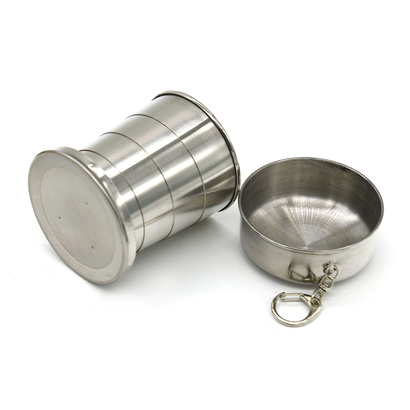60ml/150ml/250ml Practical Stainless Steel Folding Cup Outdoor Travel Folding Portable Collapsible Water Cup With Keychain