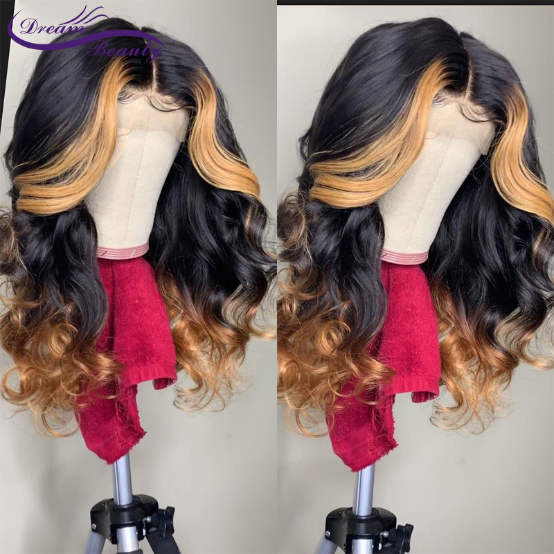 180 Density Ombre Blonde Lace Front Human Hair Wigs Brazilian Wavy Remy Ombre Highlights Human Hair