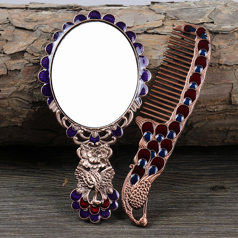 European peacock large size metal Carry Folding makeup mirror with comb Hand Hold Cosmetic Mirror With Handle For Gifts HZJ015