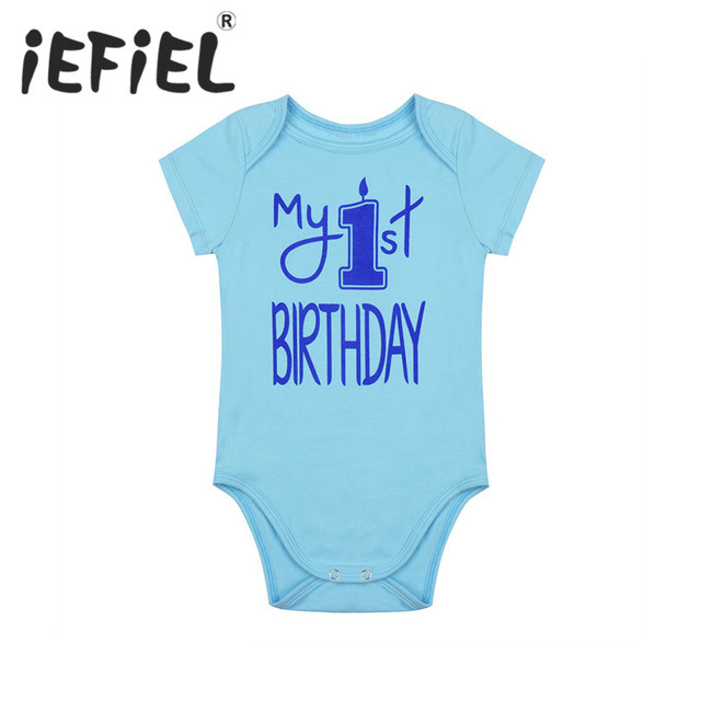 5e27adf571c iEFiEL Cotton Infant Baby Boys Short Sleeves My 1st First Birthday Romper  Jumpsuit for Birthday Formal