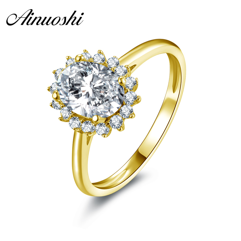AINUOSHI 10k Solid Yellow Gold Women Wedding Rings 1.25 Carat Oval Cut Engagement Anel de ouro Simulated Diamond Bijoux Ring ainuoshi 10k solid yellow gold wedding ring 2 ct round cut simulated diamond anel de ouro female wedding rings for women gifts