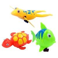 赤ちゃんのおもちゃ動物時計じかけの風呂のおもちゃ RetroTurtle カエル魚ワインドアップ浴室おもちゃベビーシャワー水泳プールプラスチック水おもちゃ 03