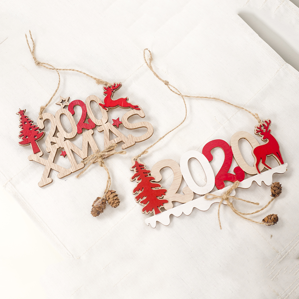 Cute Cartoon Smile Elk Wooden Ornament Christmas Tree Decoration Hanging Pendant Xmas Party Decor for Home Kids Gift Animal 2020 52