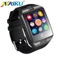O envio gratuito de new q18 passometer smart watch com tela sensível ao toque câmera tf cartão bluetooth smartwatch para android ios telefone t30