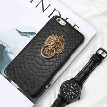 KISSCASE Lion Ring Case For iPhone 6 6S 7 8 Plus X Sexy Holder Stand Cover Capa For iPhone X 5 5S SE PU Leather Phone Back Cover(China)