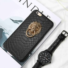 For iPhone 6 6S Case Punk Style 3D Lion Head Metal Ring Stand Holder Phone Cover For iPhone 6 6S 4.7 Snake Skins PU Leather Case punk style snake cuff ring for women