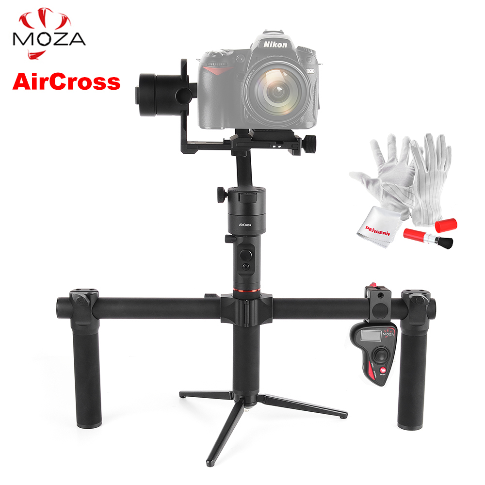 лучшая цена MOZA AirCross 3 Axis Stabilizer Dual Handheld Gimbal Handle Wireless Remote 1.8KG for Sony A7 Panasonic GH5 Mirrorless VS Zhiyun