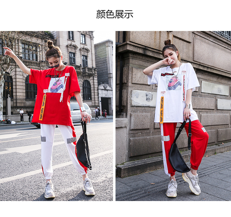 Summer Leisure Sports Suit Women 2019 New Net Red Sufeng Port Flavor Two Sets Tide