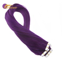 Moresoo Purple Tape In Hair Extensions 100% Real Remy Human Hair Seamless Tape In Full Head Hair Extensions 10Pcs/25G