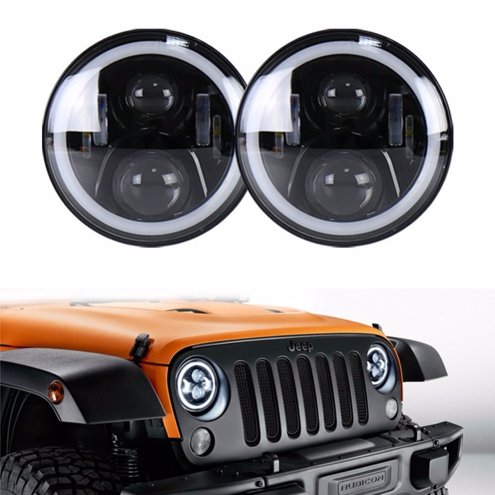 7INCH 50W LED Headlights High / Low with White DRL Amber Turn Signal Halo for 97-15 Wrangler JK FJ Cruiser