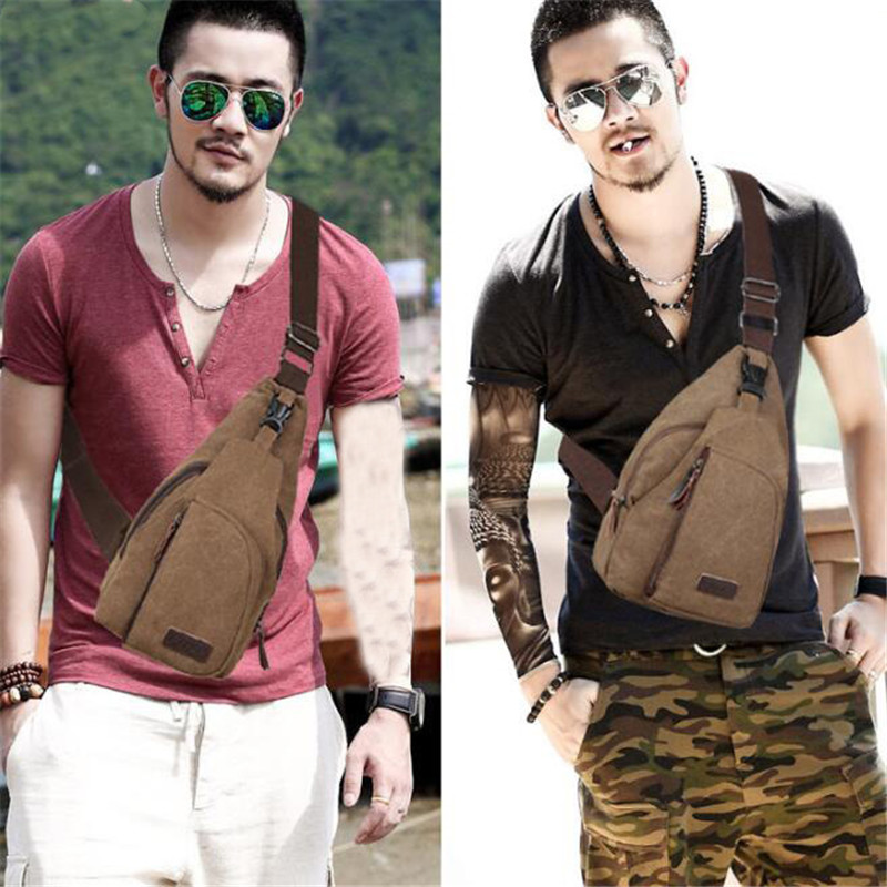 Hot 2019 Fashion Vintage Men Crossbody Bags Chest Bag Canvas Water Proof Handbags For Male Pouch Bum Hip Bags