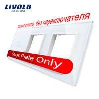 Cristal de perlas blancas Livolo, 222mm * 80mm, estándar europeo, Panel de vidrio banda de 1 y 2 marcos, VL-C7-C1/SR/SR-11 (4 colores)