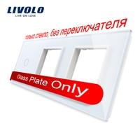 Free Shipping Livolo White Pearl Crystal Glass 222mm 80mm EU Standard 1Gang 2 Frame Glass Panel