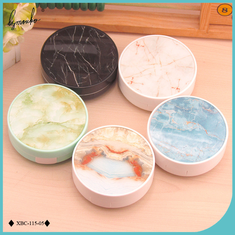 Lymouko New Design ABS Charm Marble Patterns Contact Lens Case with Mirror for Women Kit Holder Lenses Box