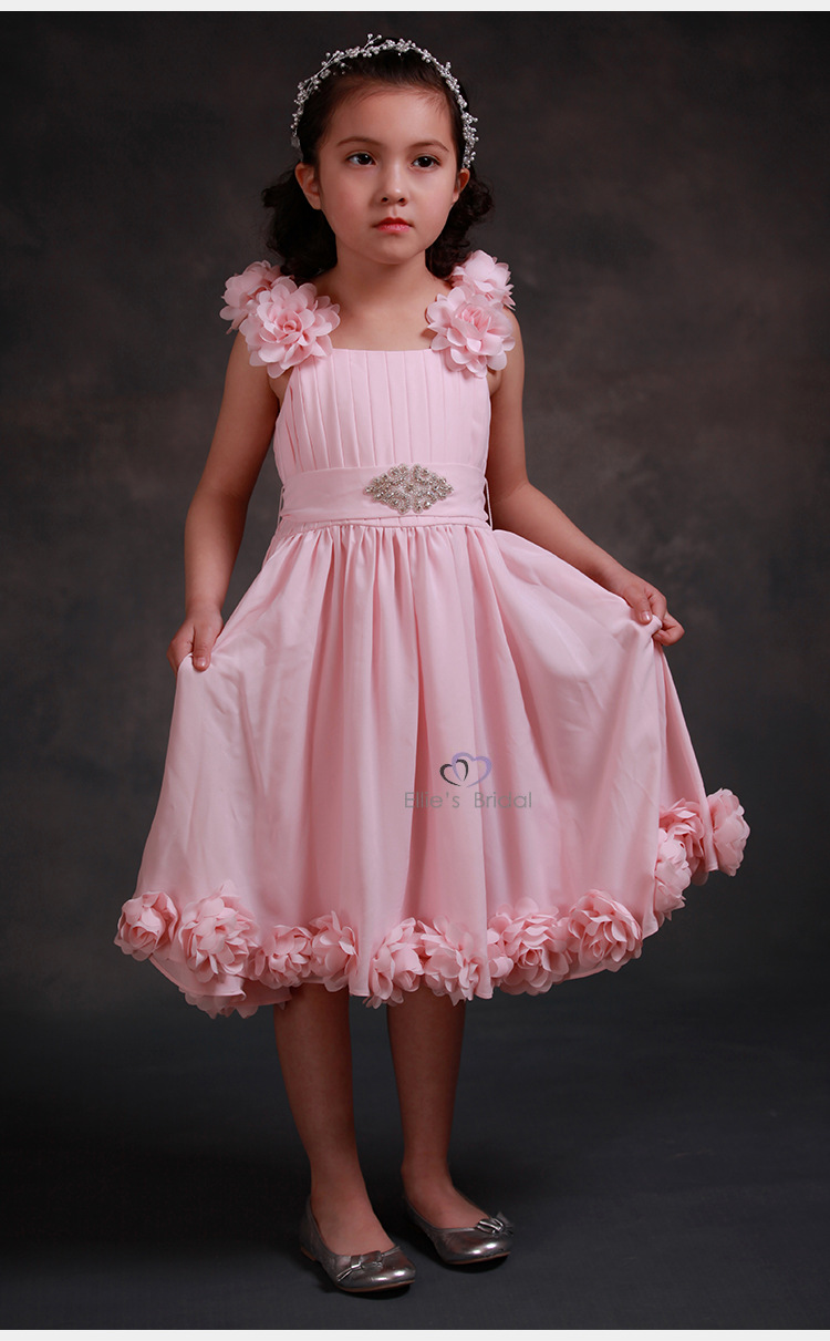 Flower Girls Dresses For Wedding Gowns Pink Toddler Pageant Dresses A-Line Mother Daughter Dresses Tulle Party Frocks Dressses in stock layered pre teen party gowns little girls pageant dress pink color