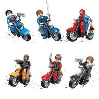 Hot Sale Marvel Super Heroes Avengers Motorcycle Shield Motor 3D Model Building Block Bricks Toys Compatible