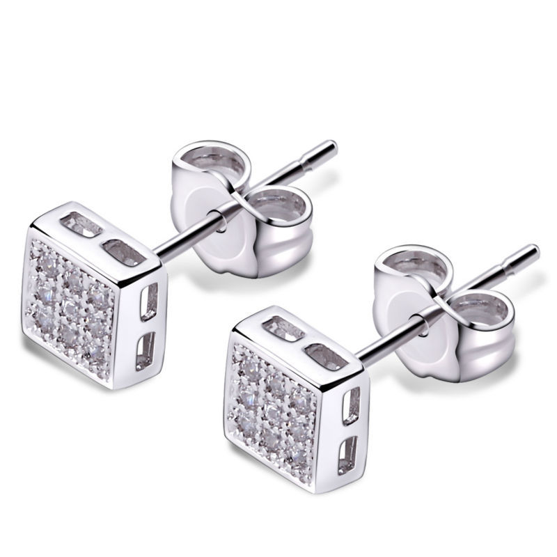 Small Studs Unisex or Women Earring Square shape Pave setting AAA Cubic Zirconia Rhodium Color Office lady Fashion Stud earring