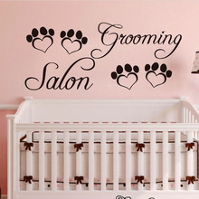 Grooming Salon Heart Shaped Paw Print Wall Sticker Removable PVC Stickers DIY Waterproof Home Decor For Pet Shop
