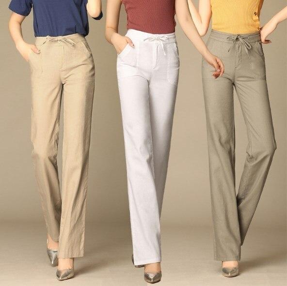 2019 New Women Formal Work Straight   Wide     Leg     Pants   Women Business Casual Long Trousers Cotton Linen   Pants   Woman Plus Size 4XL