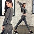NOVO 2016 Moda Feminina Sportswear fatos de Treino de Outono da Longo-luva Casual Terno Costumes Mujer 2 Peça Definir T203204