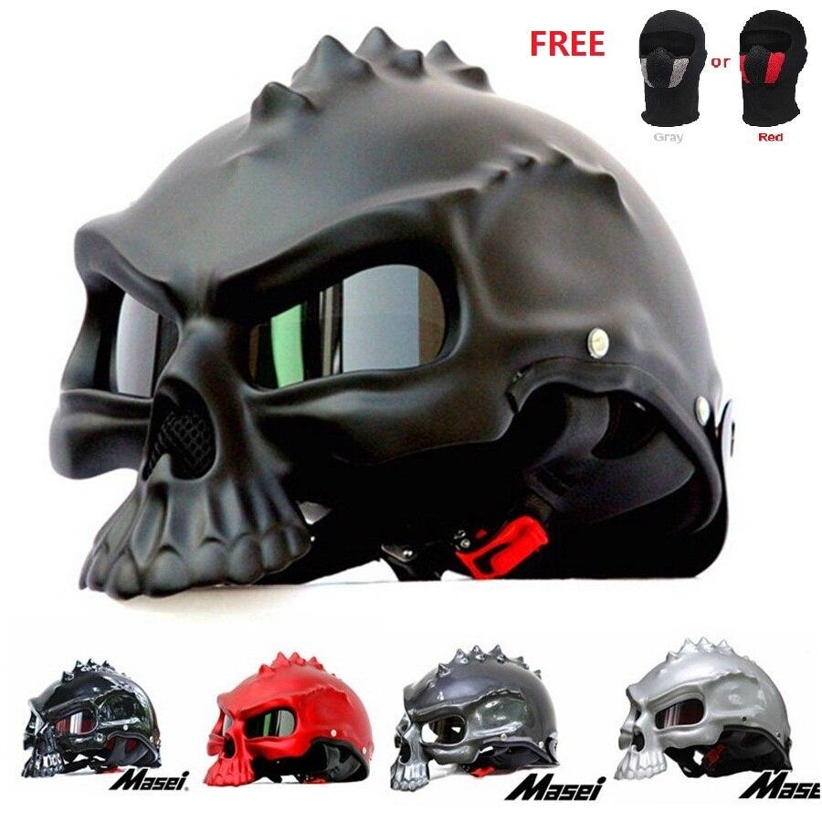 Free shipping 1pcs 3D Spiker Dual Use Skull Dirt Bike Racing Half Face Capacete Casco Helmet Skeleton Motorcycle Helmet