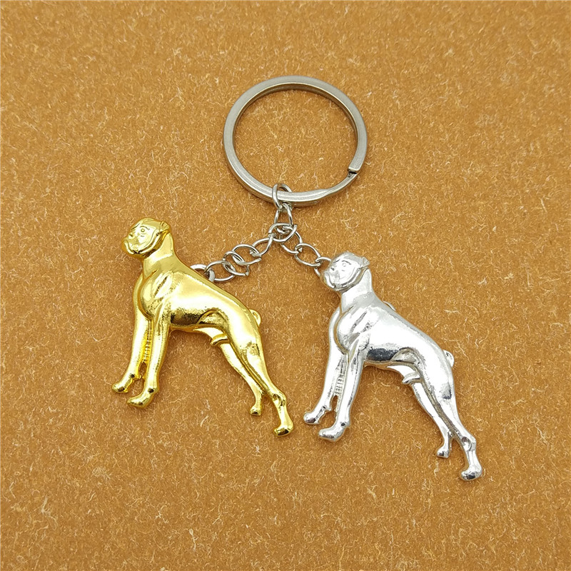 wholesale Hot Cute Boxer Dog key chain for bag gold silver color charm animal pendant for women men girls gift Keyring jewelry