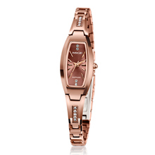 2017 Real New Hot Sale Tungsten Ladies Watch Fashion Casual Rose Gold Black Watchband Female Clock Waterproof Women Wristwatch