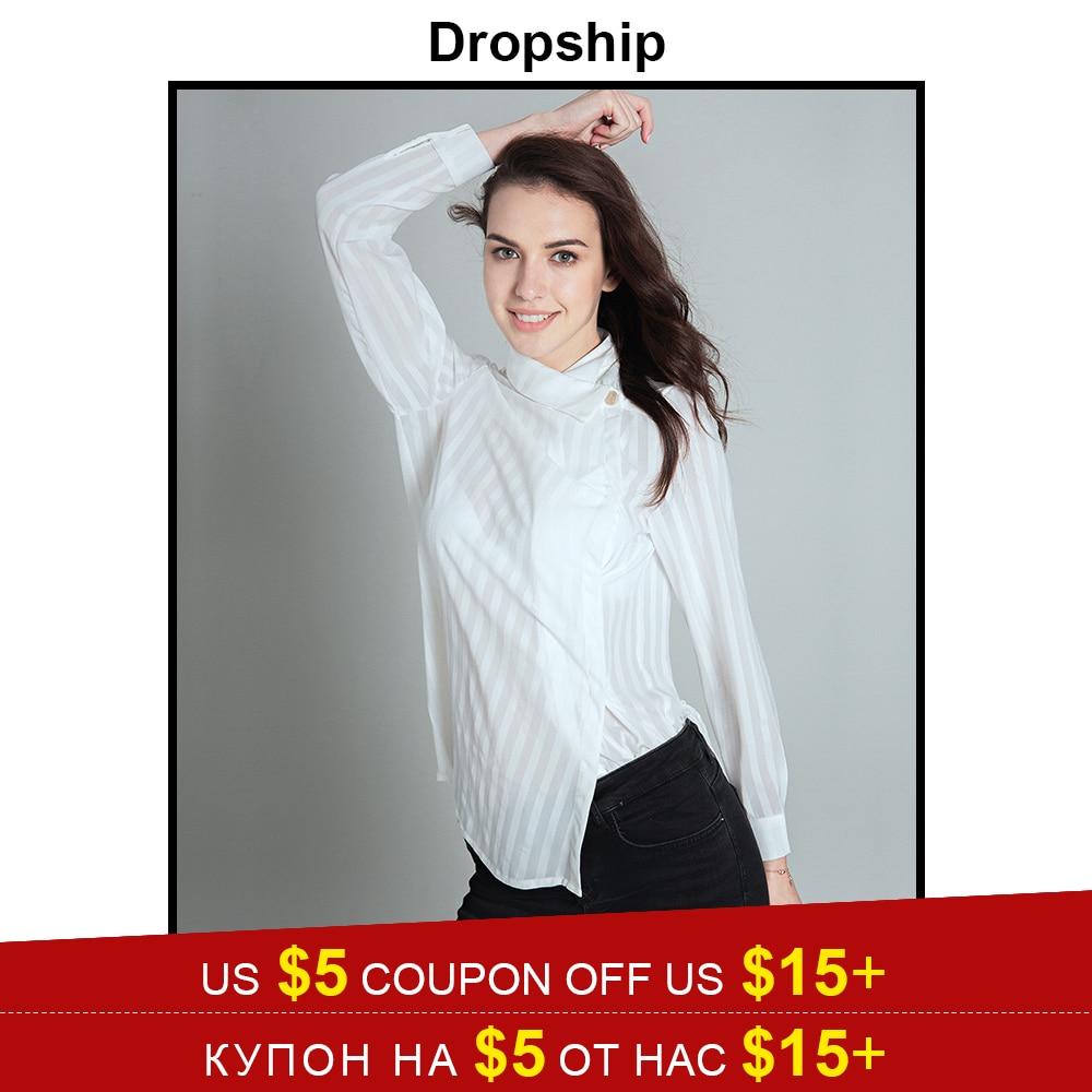 Dropship Streetwear Long Sleeve Turn Down Collar Women Summer Striped Long Shirt 2018 New Fashion White Elegant Chiffon Blouse